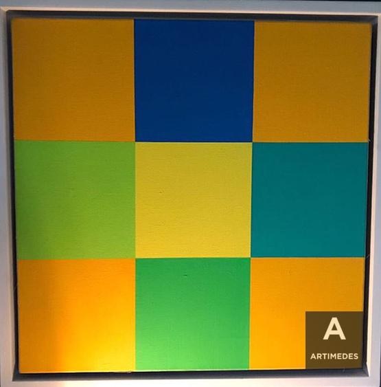 Richard Paul Lohse / Grün-Blaue Drehung Um Gelbes Quadrat - front