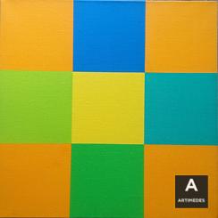 Richard Paul Lohse / Grün-Blaue Drehung Um Gelbes Quadrat - front2